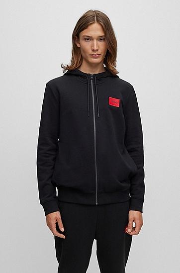 徽标饰片棉质毛圈布拉链运动衫,  001_Black