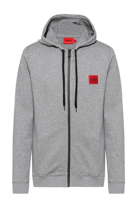 Sweatshirt van katoenen sweatstof met ritssluiting en logopatch, Grijs