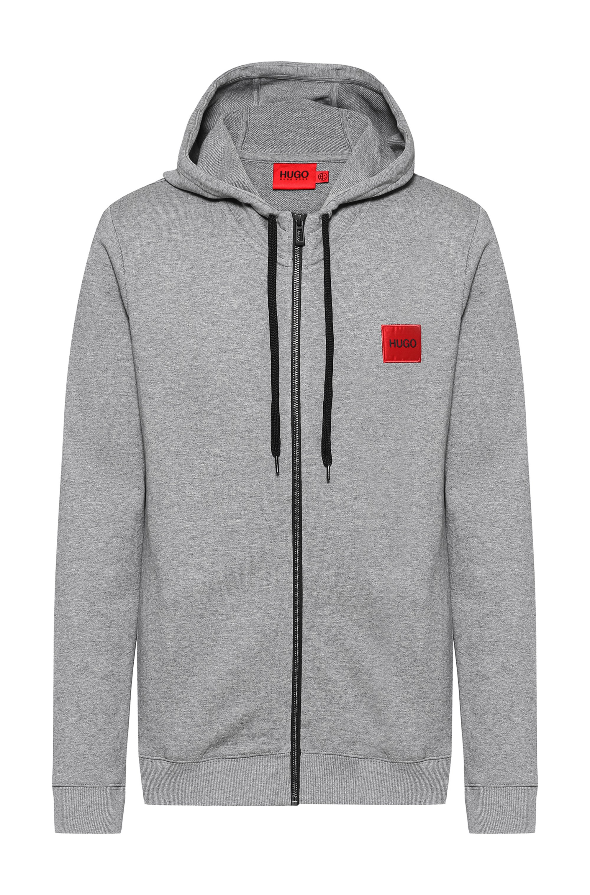 Zip-through sweatshirt in terry cotton with logo patch, Grey