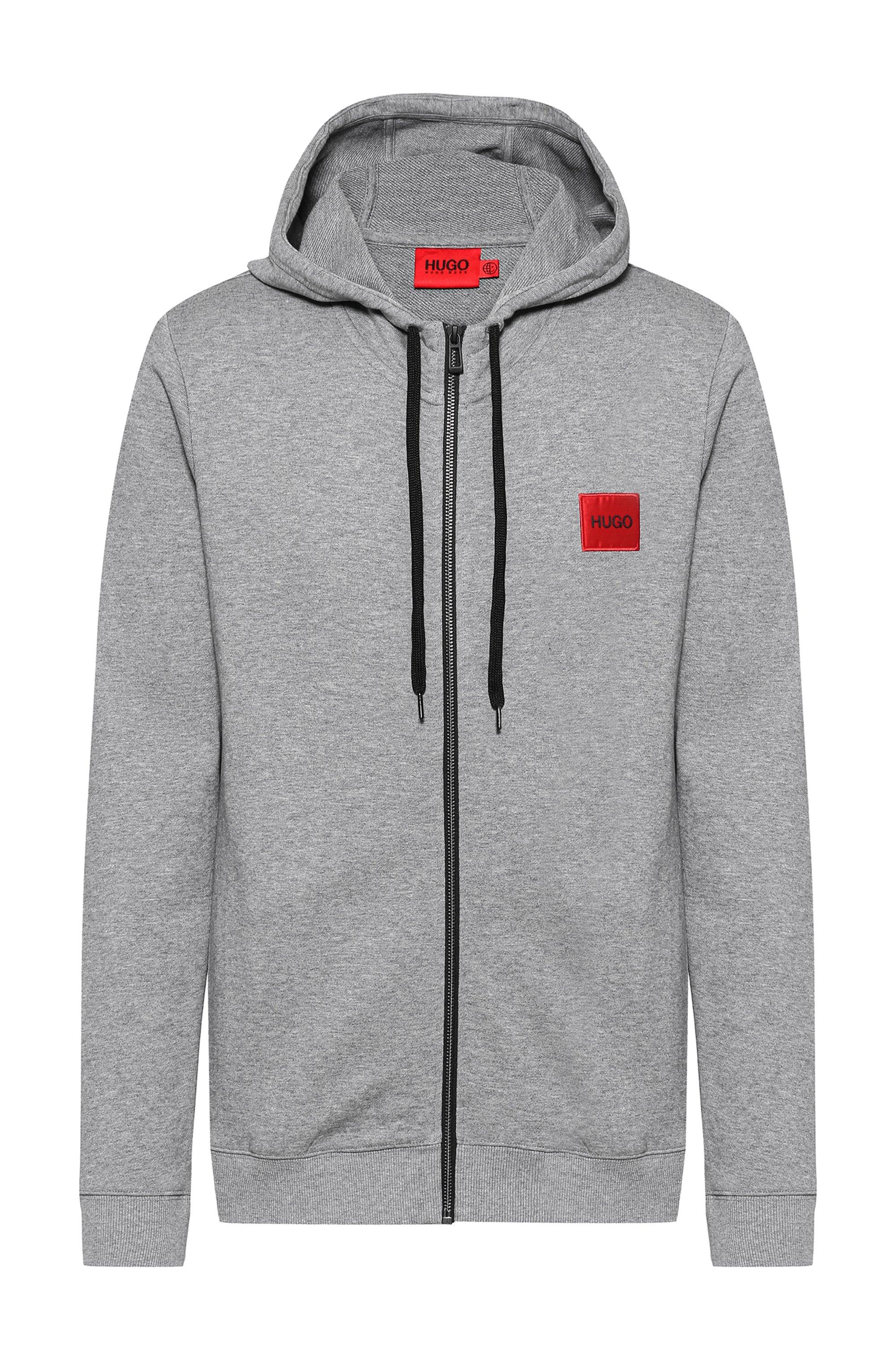 Zip-through sweatshirt in terry cotton with logo patch, Grey