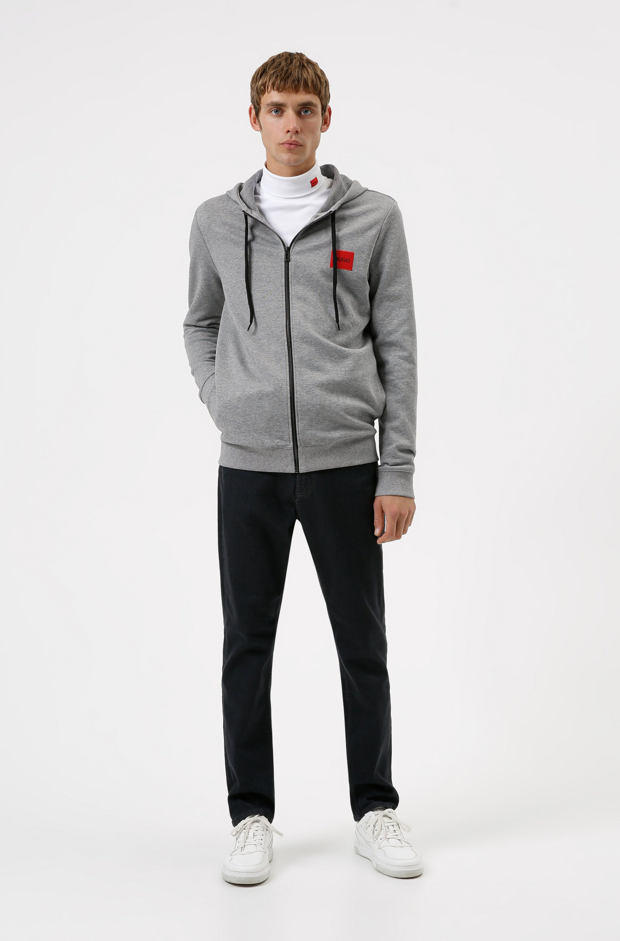 Zip-through sweatshirt in terry cotton with logo patch