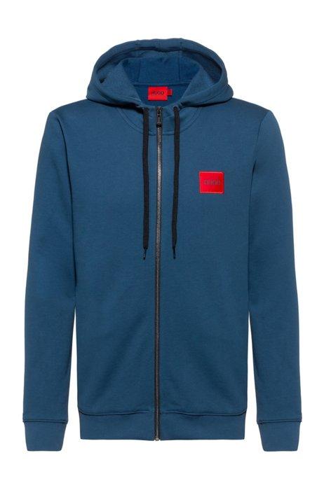 Sweatshirt van katoenen sweatstof met ritssluiting en logopatch, Donkerblauw