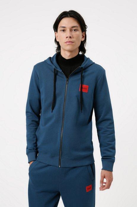 Zip-through sweatshirt in terry cotton with logo patch, Dark Blue