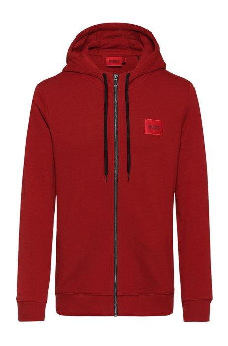 Sweatshirt van katoenen sweatstof met ritssluiting en logopatch, Rood