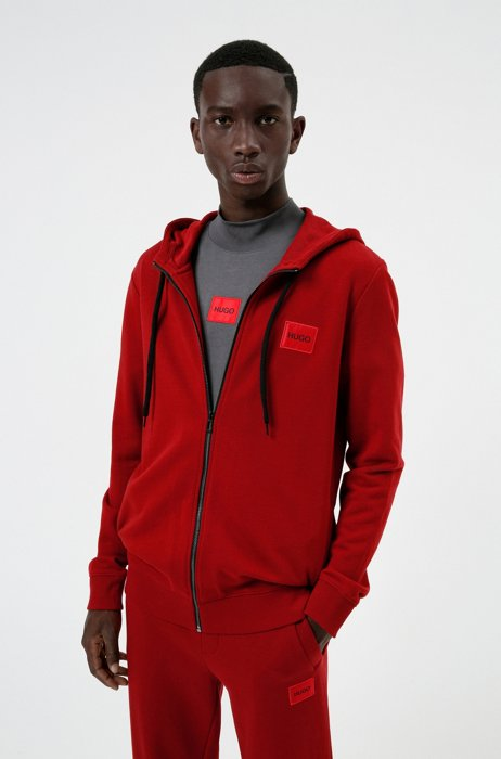 Zip-through sweatshirt in terry cotton with logo patch, Red