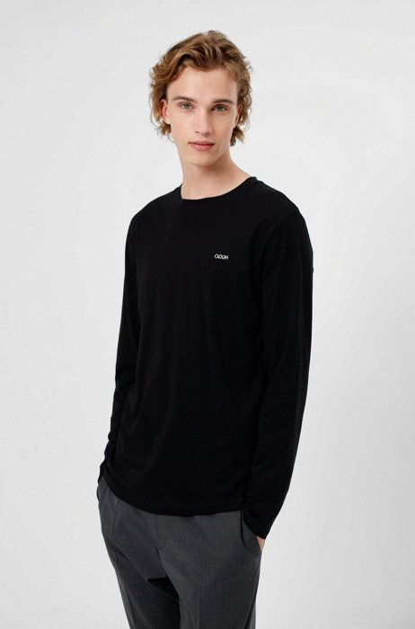 Long-sleeved cotton T-shirt with logo embroidery, Black
