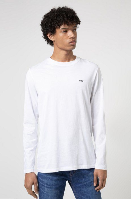 Long-sleeved cotton T-shirt with logo embroidery, White