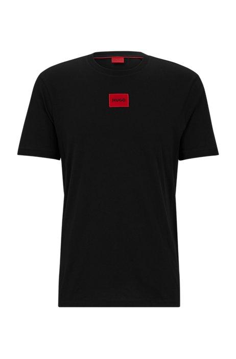 Regular-fit T-shirt van katoen met rood logolabel, Zwart