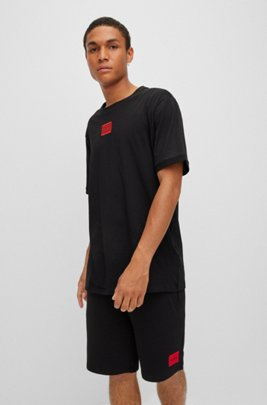 Regular-fit cotton T-shirt with red logo label, Black