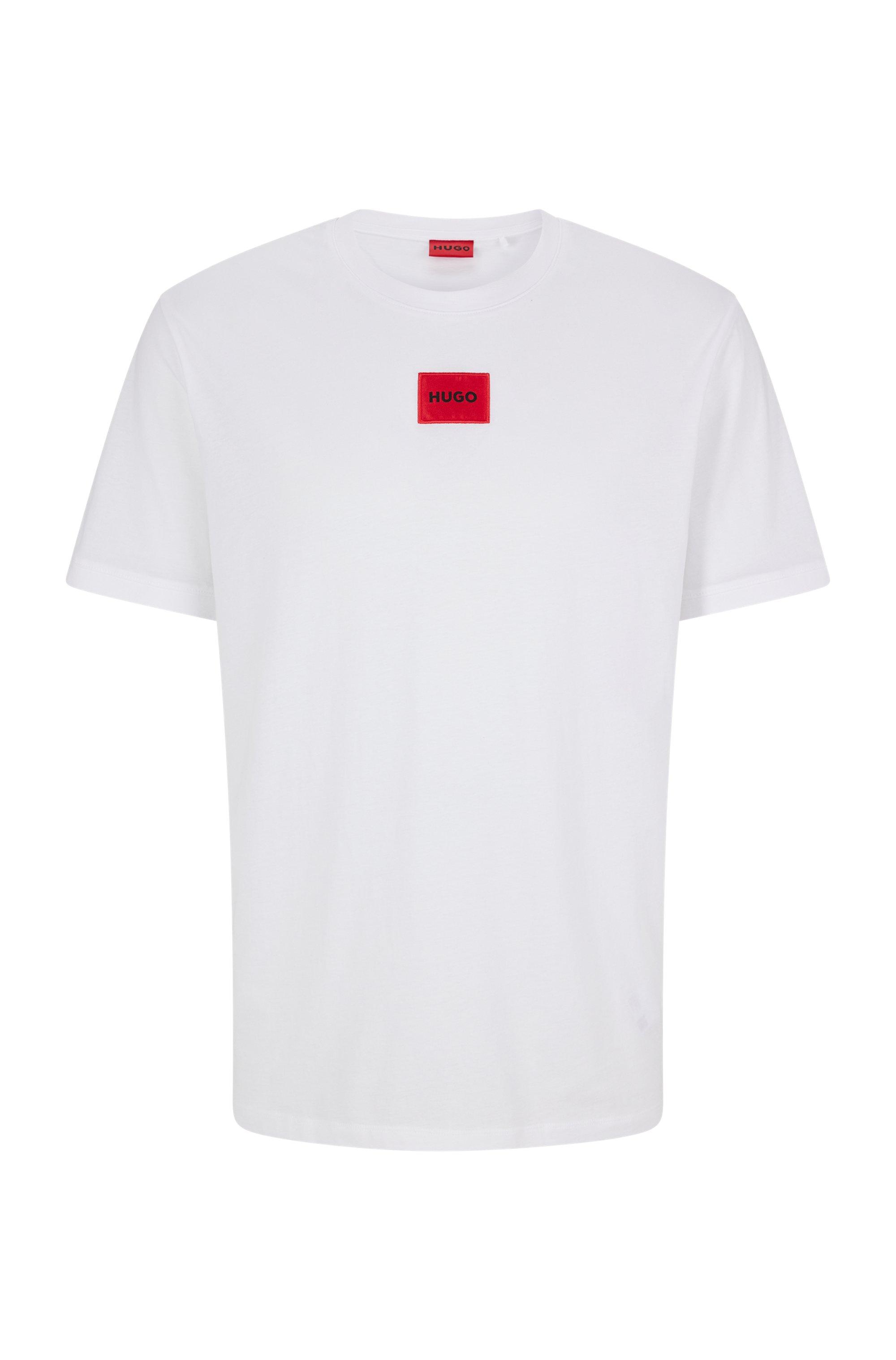 T-shirt Regular Fit en coton avec étiquette logo rouge, Blanc