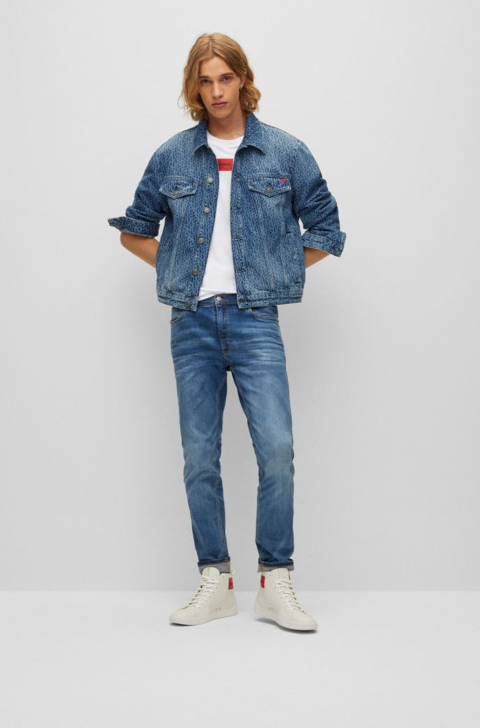 Regular-fit cotton T-shirt with red logo label