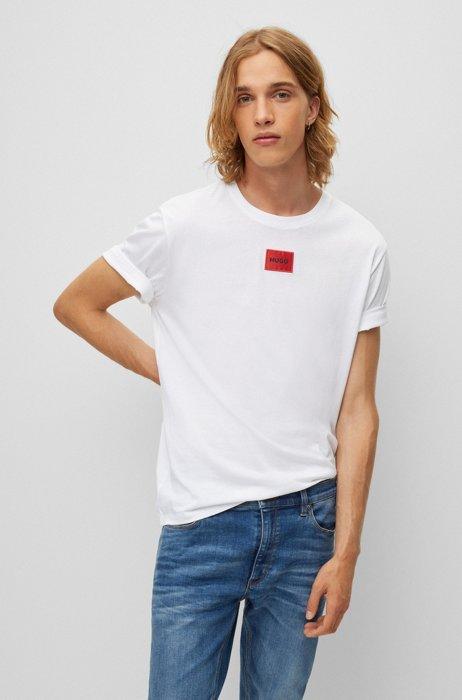 T-shirt regular fit in cotone con etichetta con logo rossa, Bianco