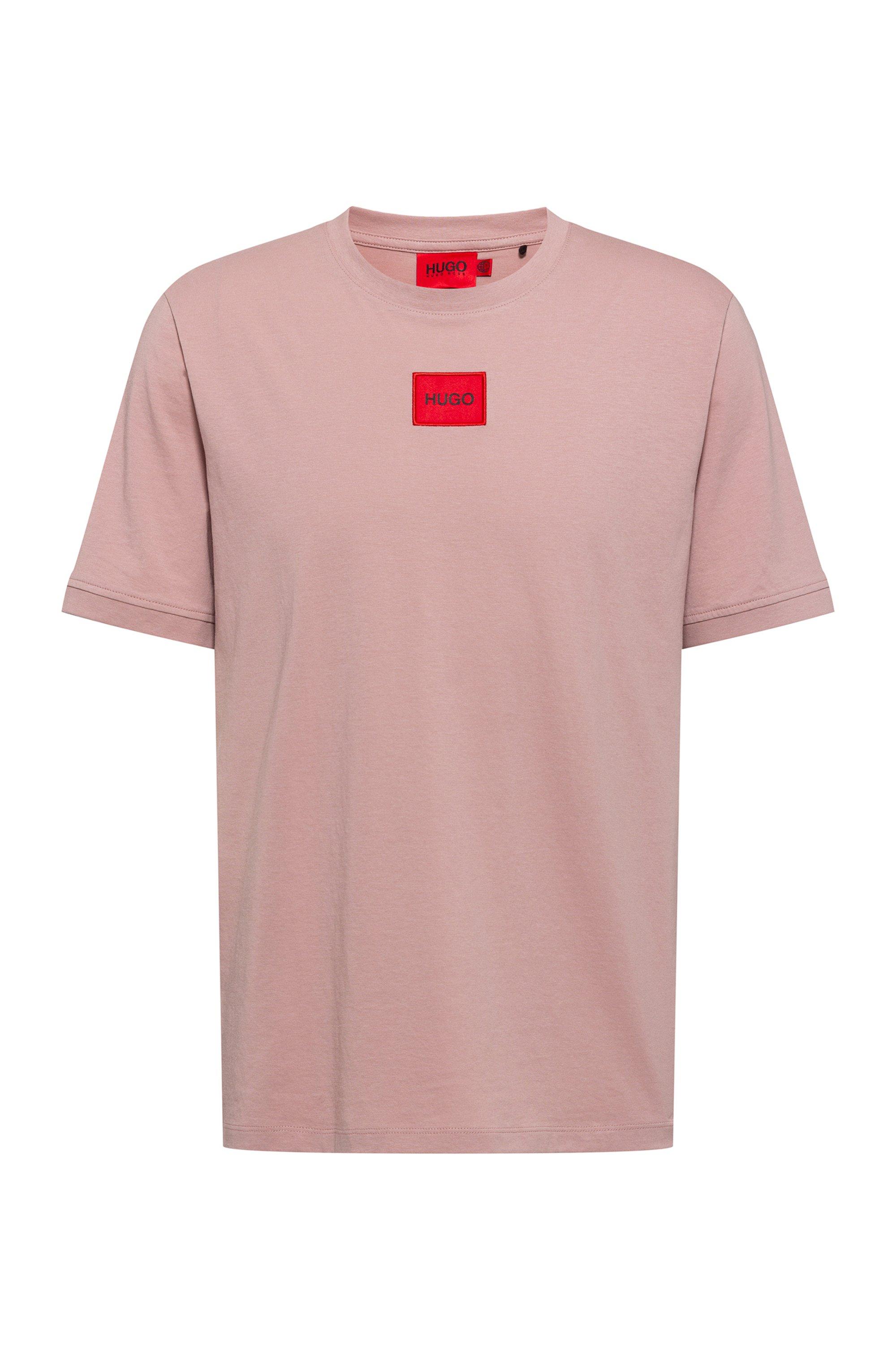 Regular-fit T-shirt van katoen met rood logolabel, Lichtroze