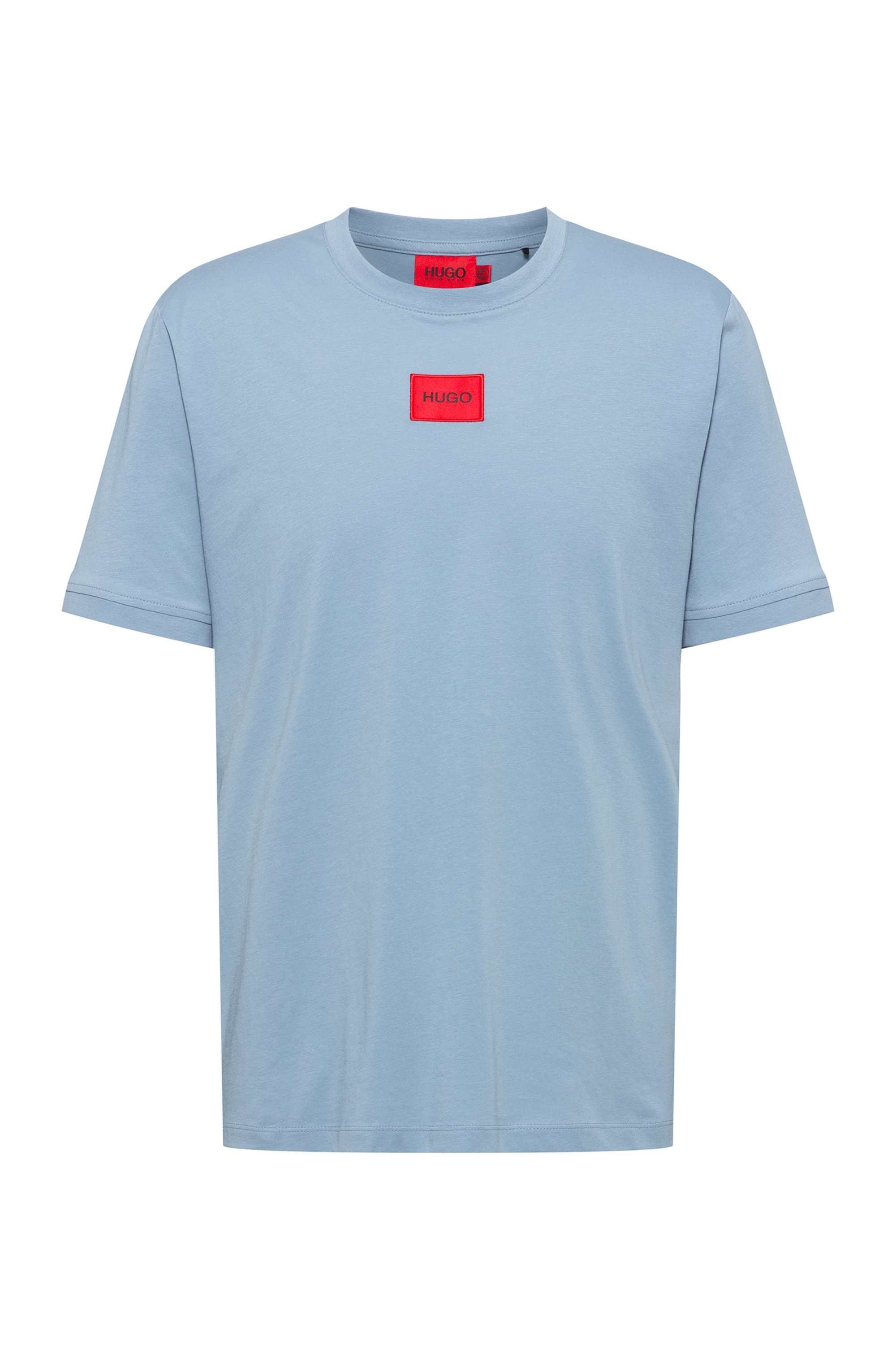 Regular-fit cotton T-shirt with red logo label, Blue