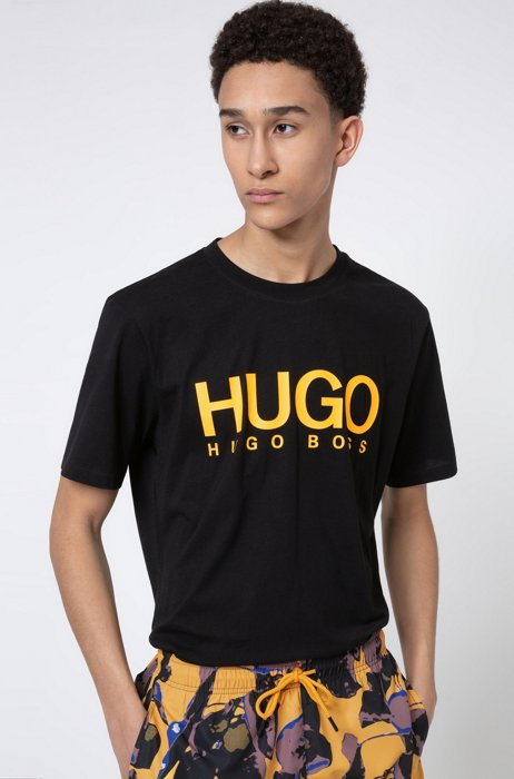 Crew-neck T-shirt in pure cotton with logo print, Black