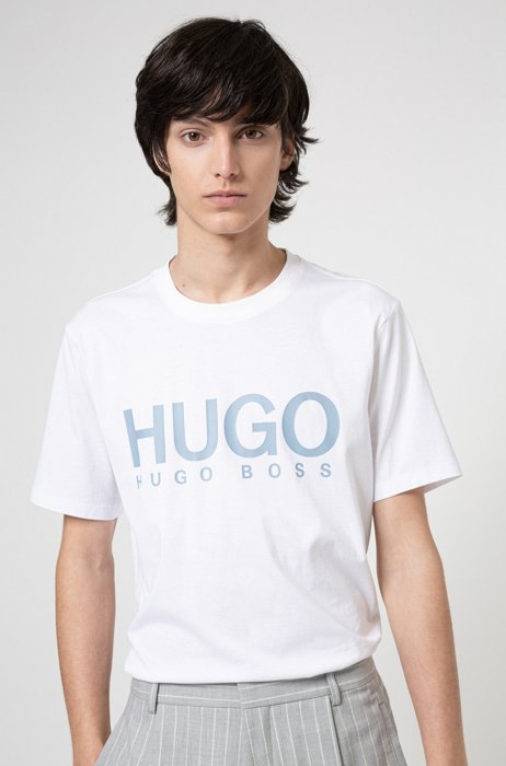 Crew-neck T-shirt in pure cotton with logo print, White