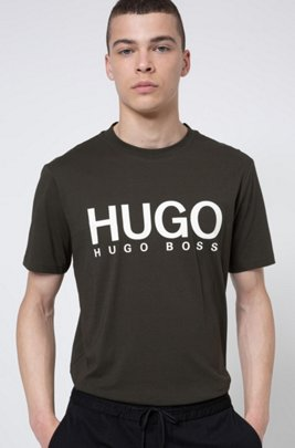 Crew-neck T-shirt in pure cotton with logo print, Dark Green