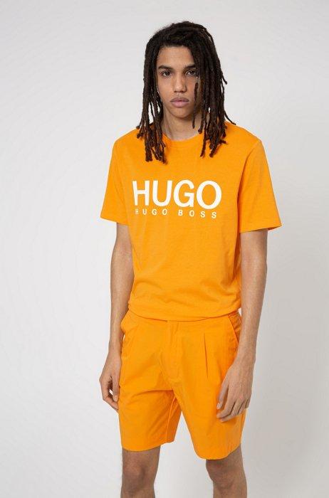 Crew-neck T-shirt in pure cotton with logo print, Orange