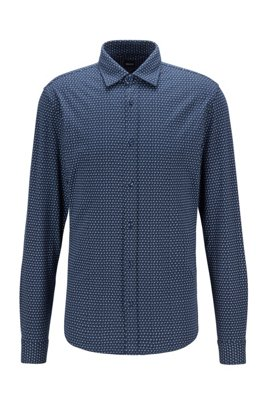 Slim-fit shirt in printed cotton jersey, Blue Patterned