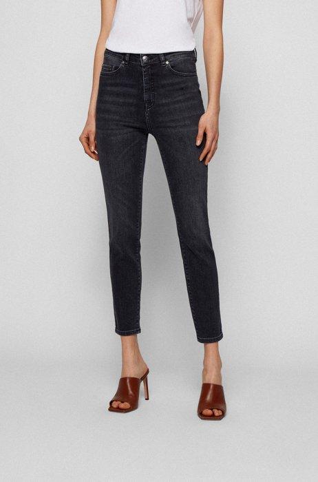 Skinny-fit cropped jeans in blue-black stretch denim, Dark Grey