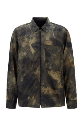 Zip-through overshirt with camouflage print, Beige Patterned