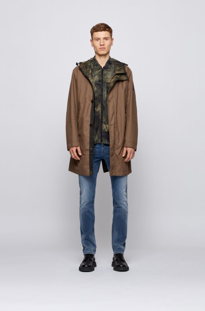 Zip-through overshirt with camouflage print