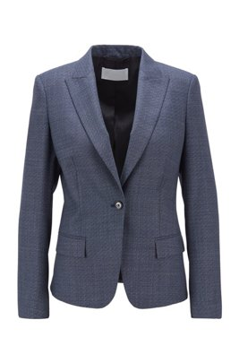 Single-breasted jacket in micro-patterned stretch-wool serge, Dark Blue