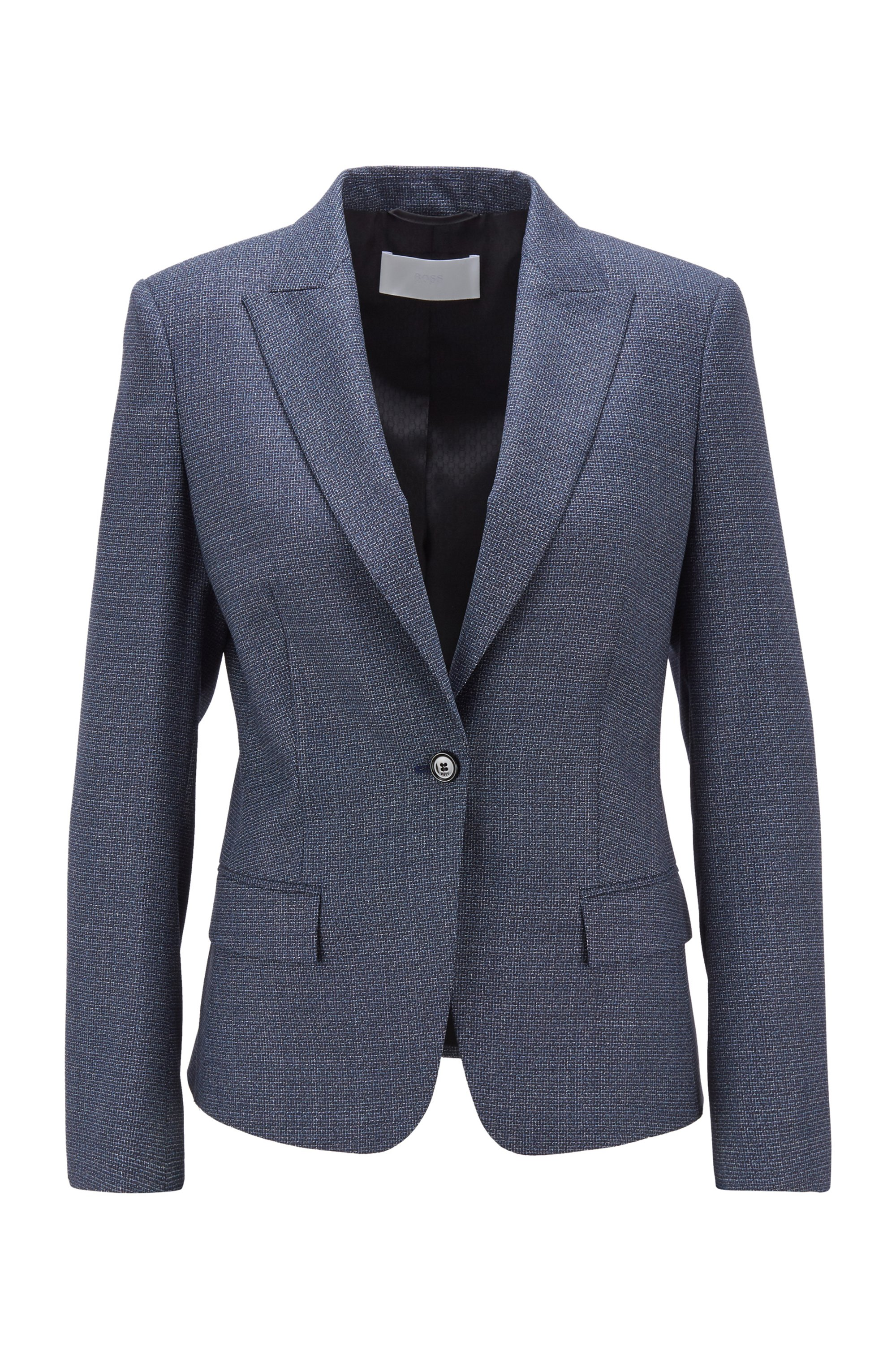 Single-breasted jacket in micro-patterned stretch-wool serge, Dark Blue