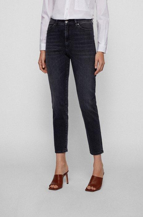 Regular-fit jeans in blue-black super-stretch denim, Dark Grey