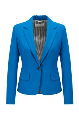 Tailored jacket in traceable stretch virgin wool, Light Blue