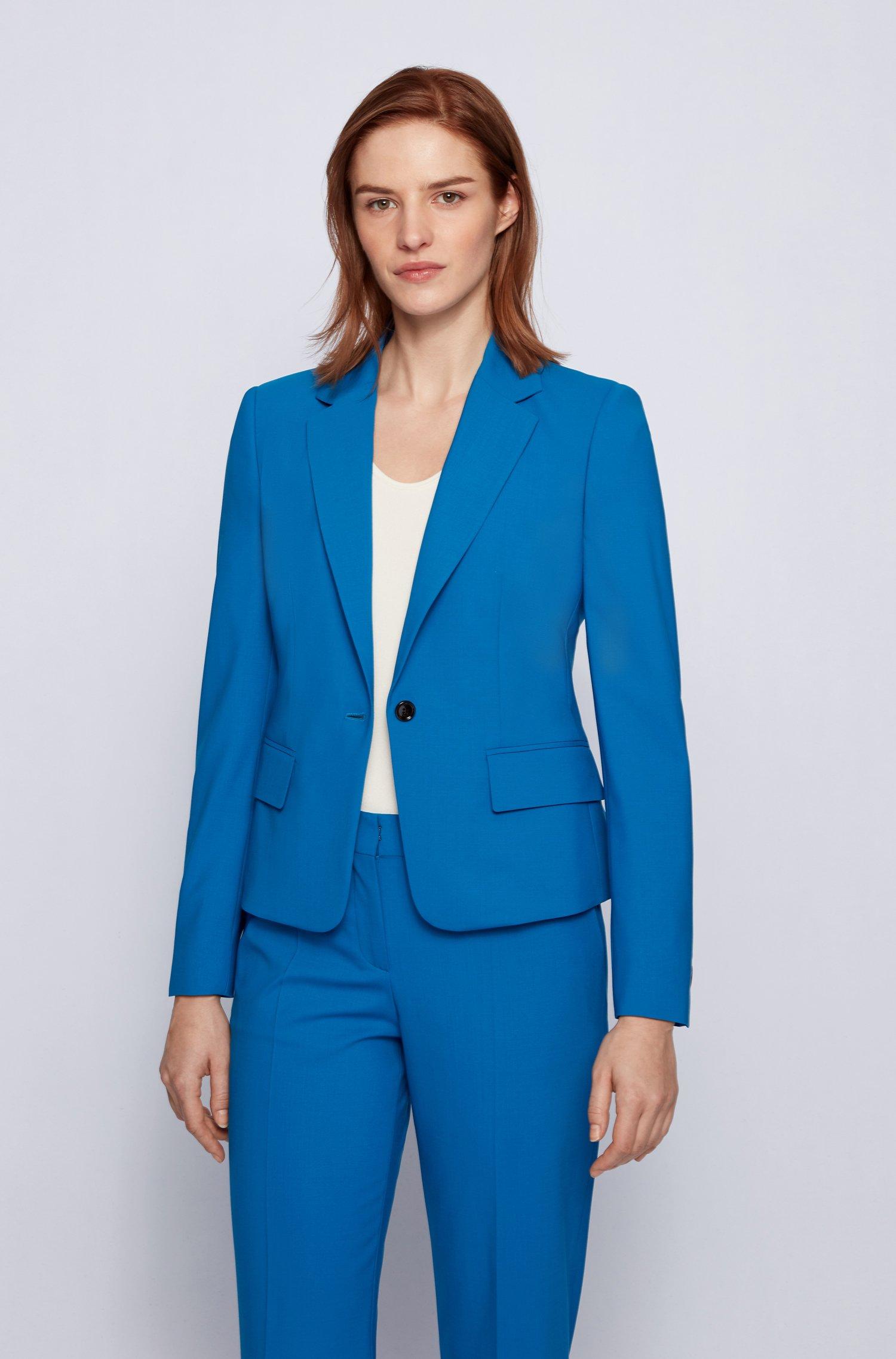 Tailored jacket in traceable stretch virgin wool, Light Blue
