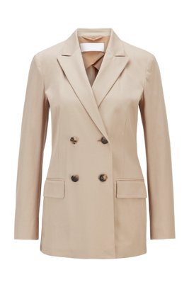 Double-breasted jacket in stretch-cotton twill, Beige