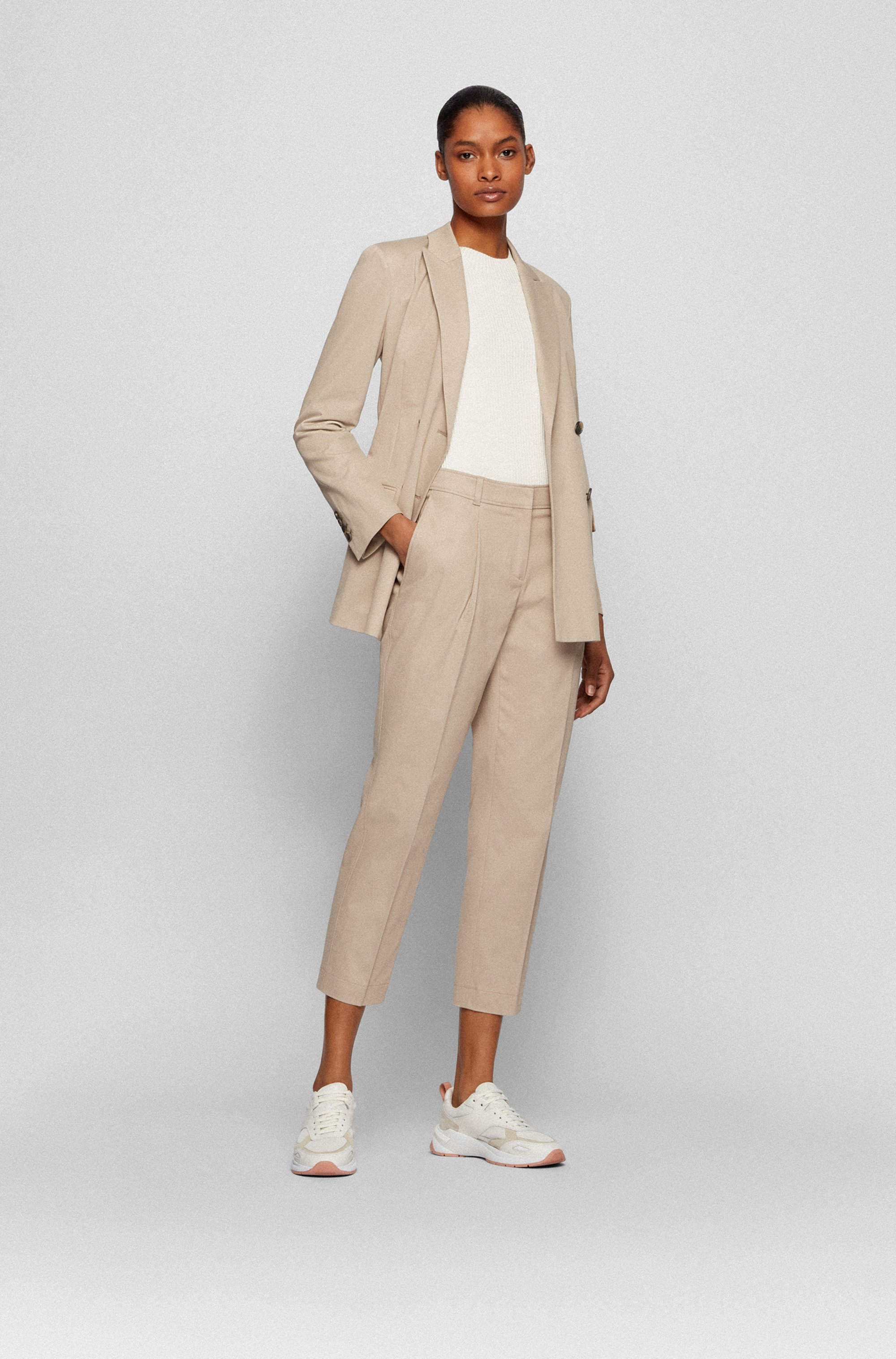 Double-breasted jacket in stretch-cotton twill