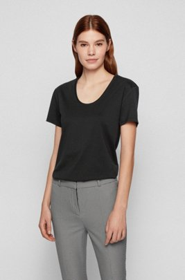 Organic-cotton T-shirt with scoop neck, Black