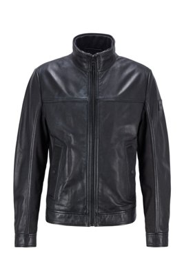 Biker jacket in nappa leather with mixed finishes, Black