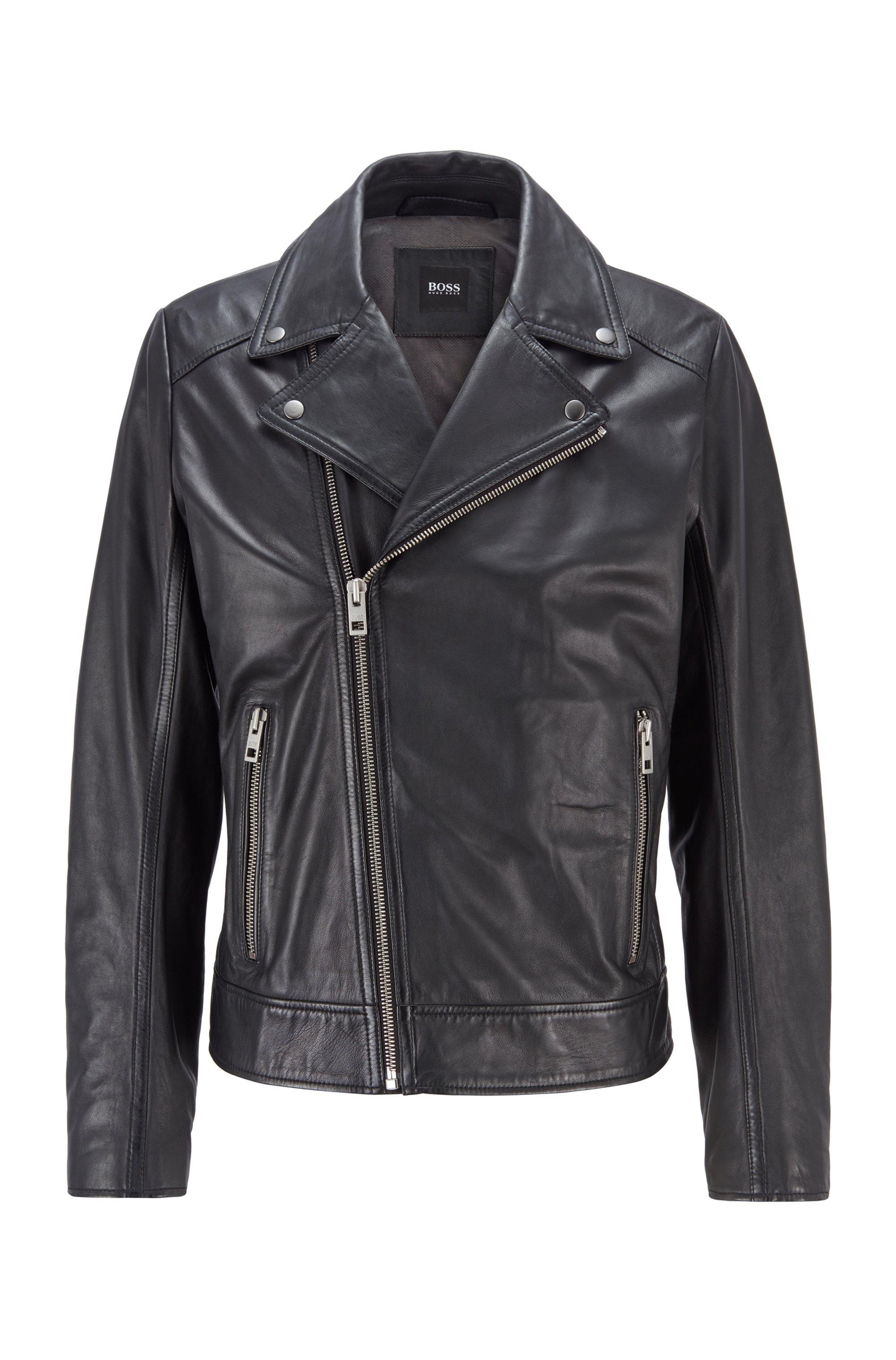 Asymmetric biker jacket in lamb leather, Black