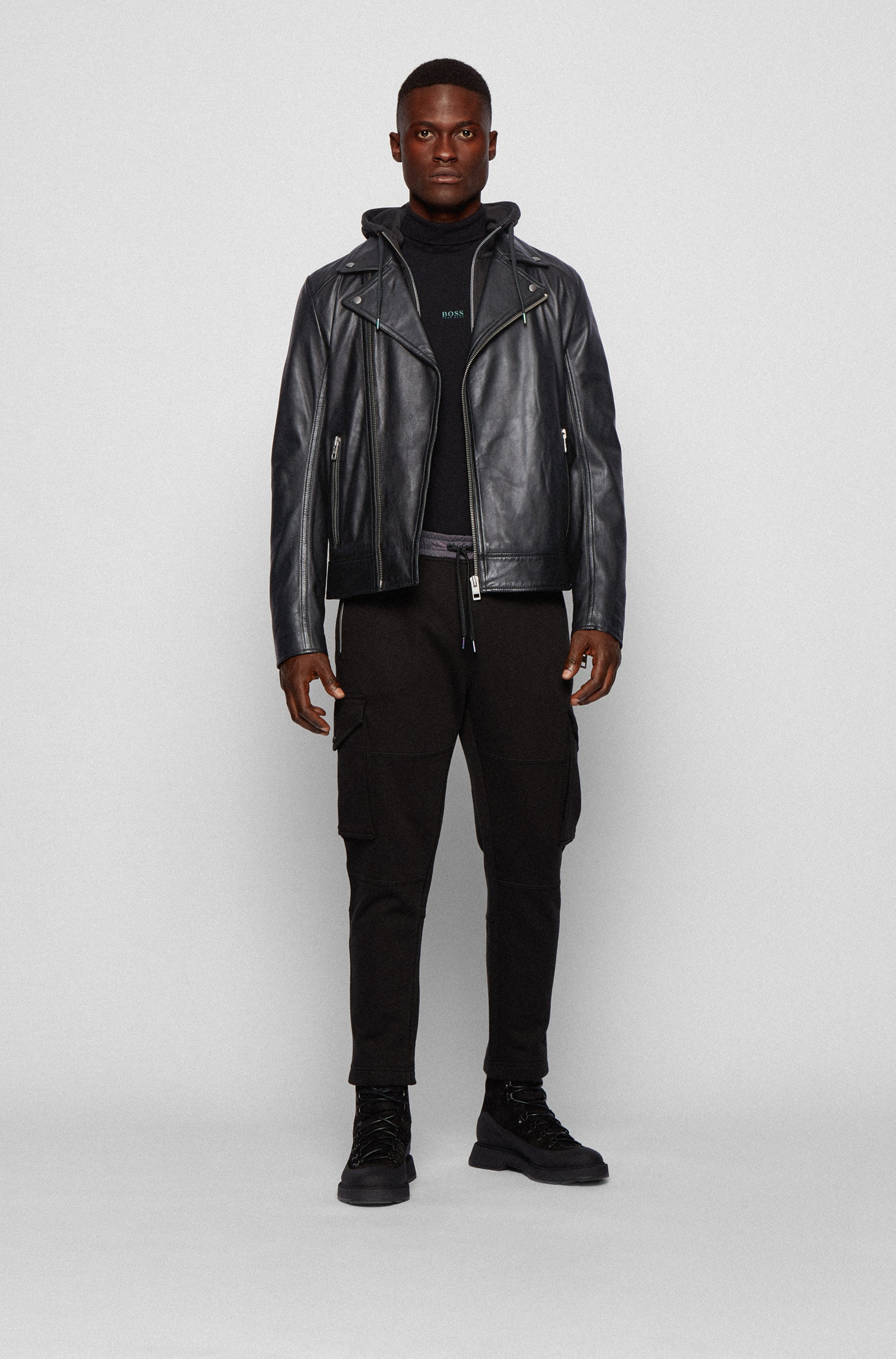 Asymmetric biker jacket in lamb leather