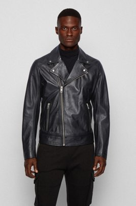 Asymmetric biker jacket in lamb leather, Black