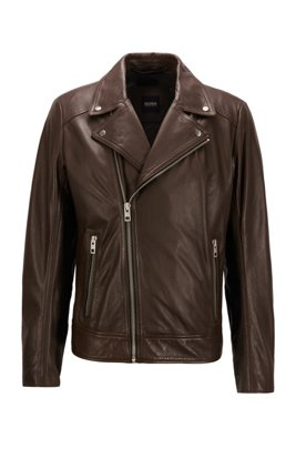 Asymmetric biker jacket in lamb leather, Dark Brown