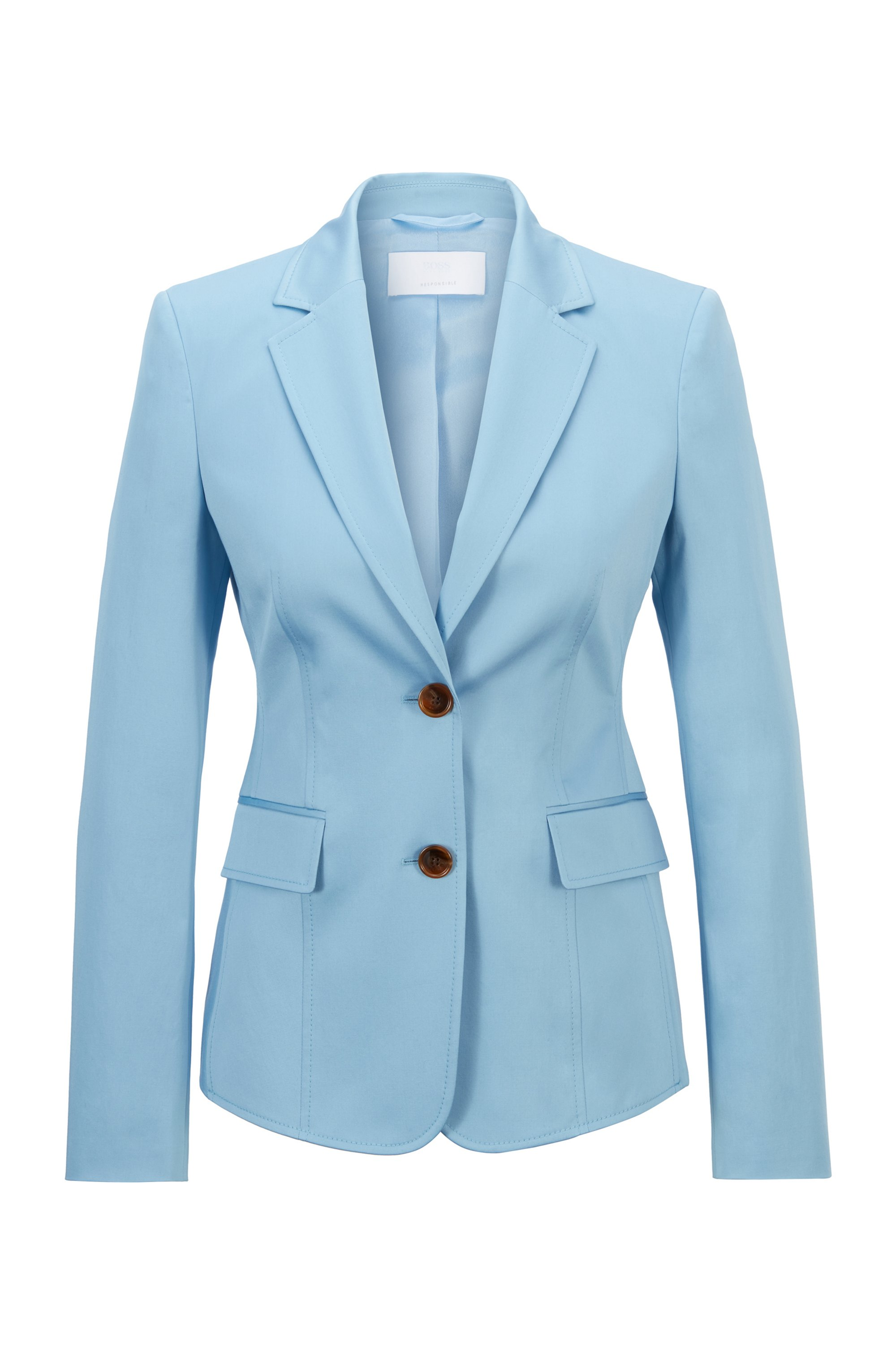 Regular-fit jacket in organic-cotton stretch satin, Light Blue