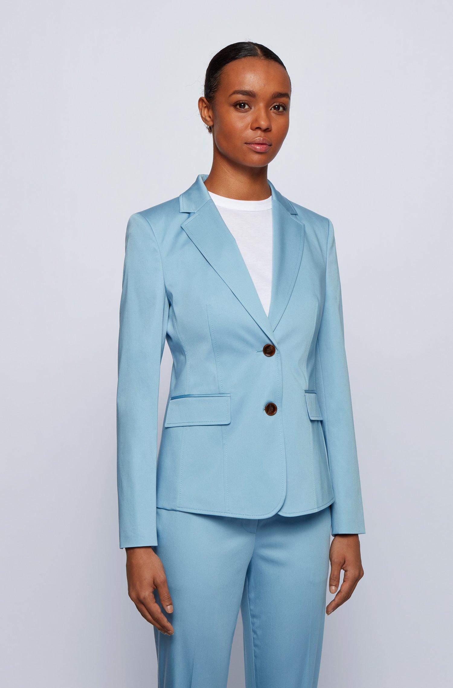 Regular-Fit Blazer aus elastischer Bio-Baumwolle mit Satin-Finish, Hellblau