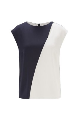 Colour-blocked top in stretch silk with cap sleeves, Black