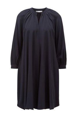 Silk-blend dress with ruched neckline, Black