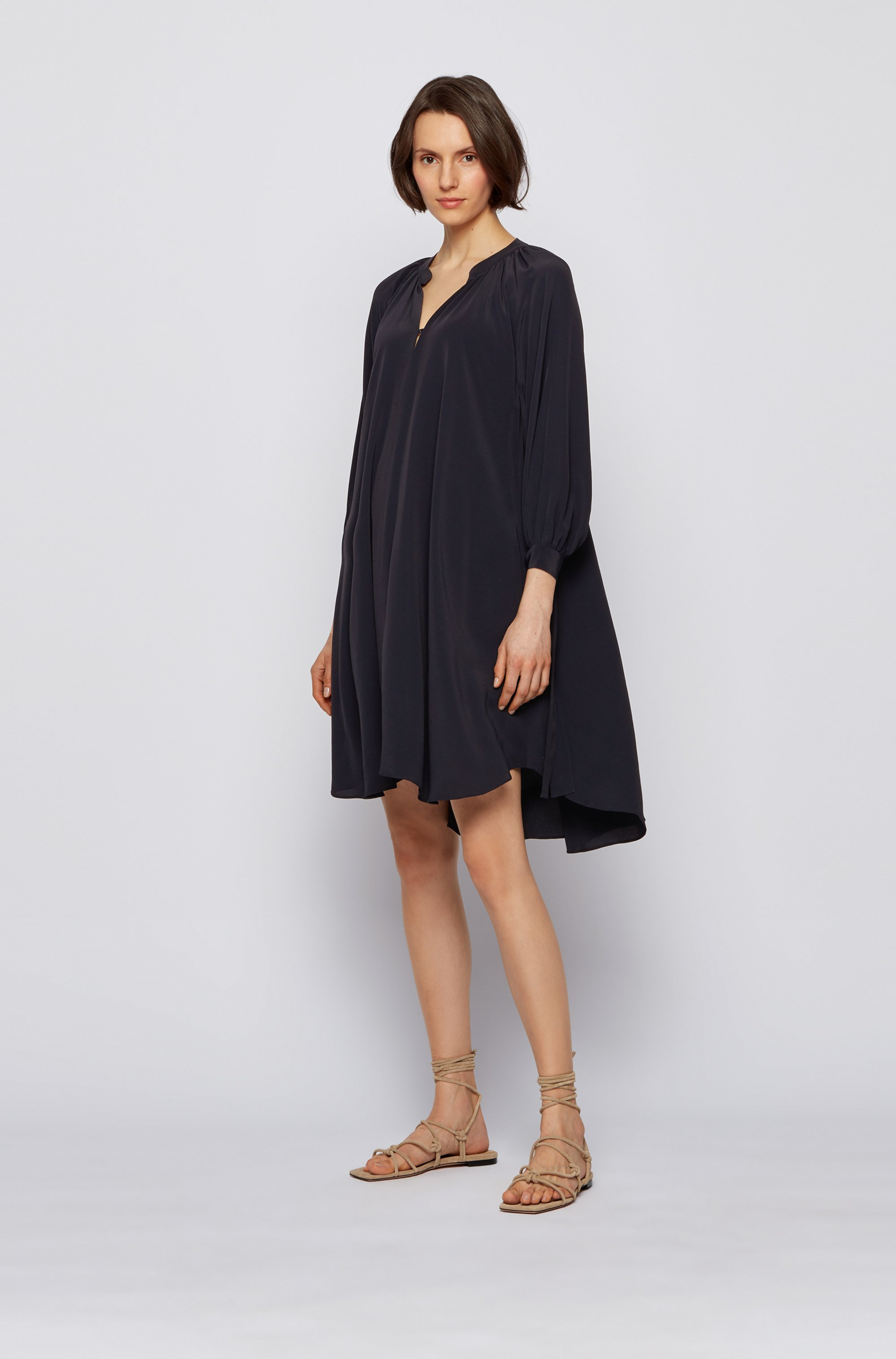 Silk-blend dress with ruched neckline