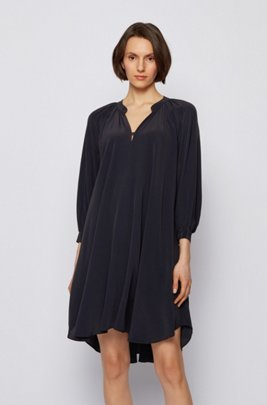 Silk-blend dress with ruched neckline, Black