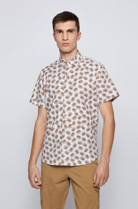Regular-fit shirt in printed stretch cotton, Beige Patterned