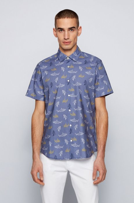 Regular-fit shirt in printed stretch cotton, Blue Patterned