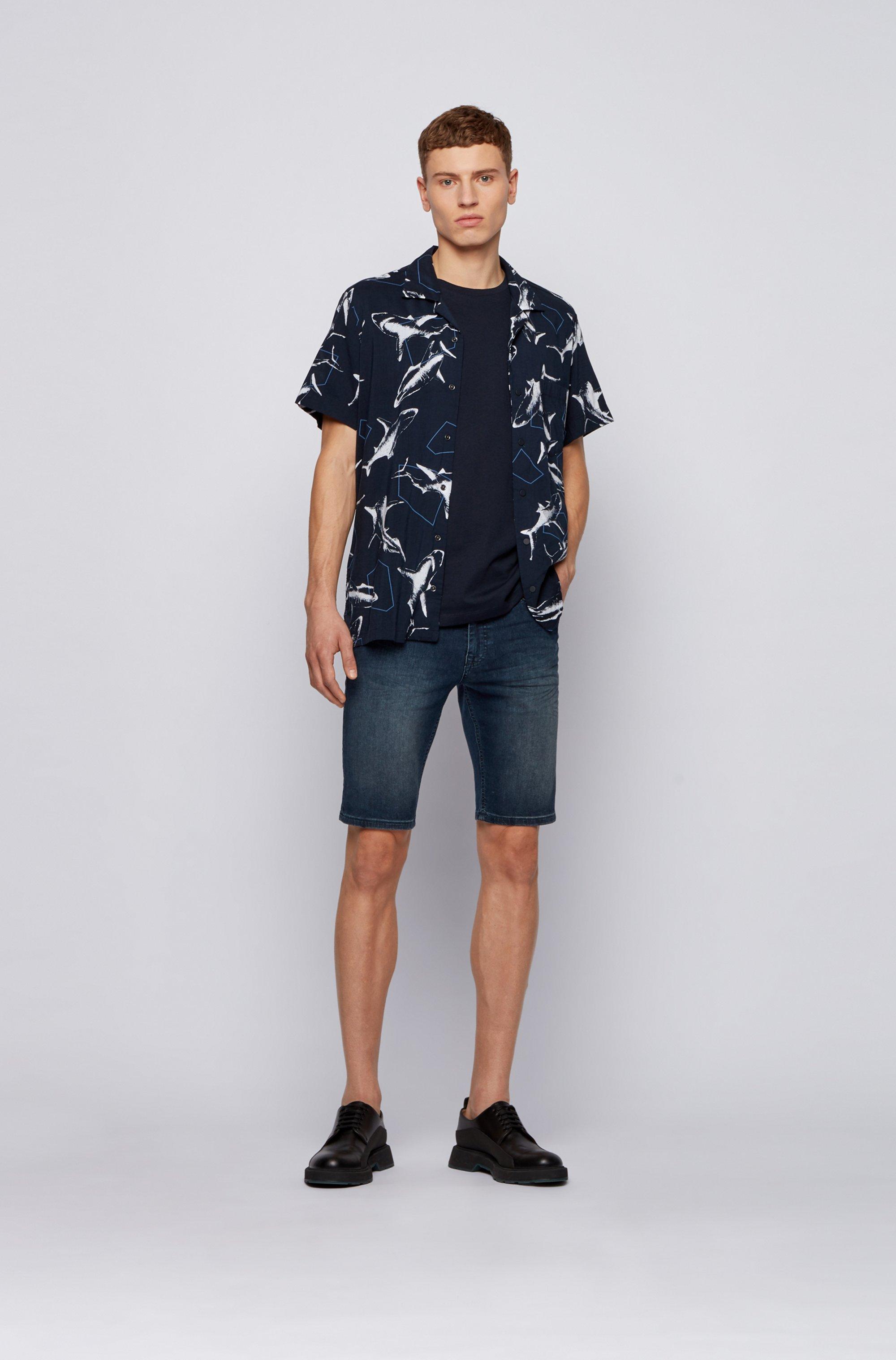 オーバーサイズプリント レギュラーフィットシャツ スナップボタン
