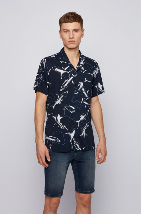 Oversized-print regular-fit shirt with press-stud buttons, Blue Patterned