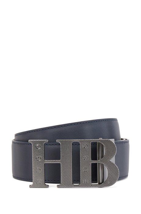 Reversible leather belt with engraved monogram plaque buckle, Dark Blue
